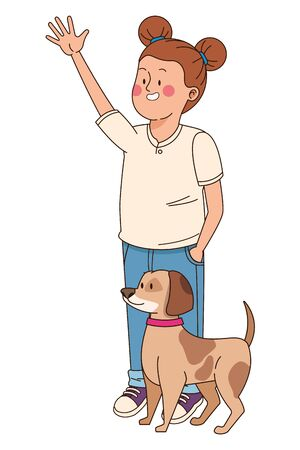 Teenager greeting and walking the dog isolated,vector illustration graphic design. Иллюстрация