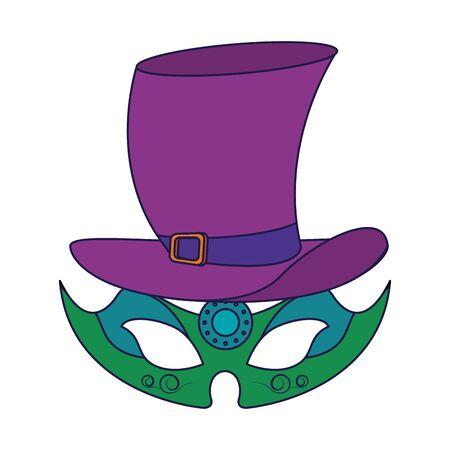 party mask with hat festive carnival costume celebration decoration cartoon vector illustration graphic design