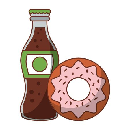 Food donut and cola soda bottle isolated vector illustration graphic design