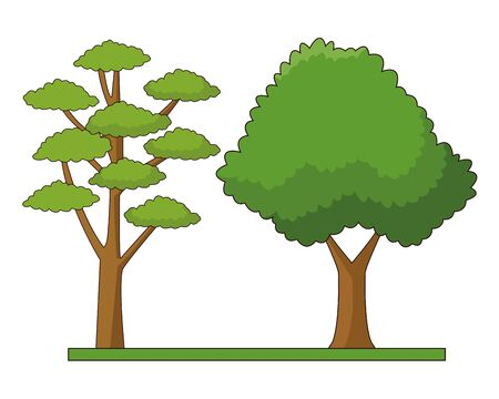 Nature trees on grass at nature cartoons vector illustration graphic design. Stock Illustratie