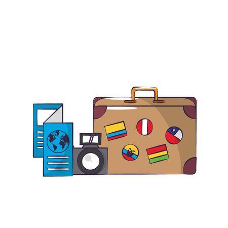 Reise um die Weltsymbole mit Koffer und Reisepass isoliert Vektor-Design-Illustration Vektorgrafik