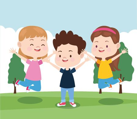 happy kids jumping in the park, colorful design , vector illustration Stockfoto - 133282521