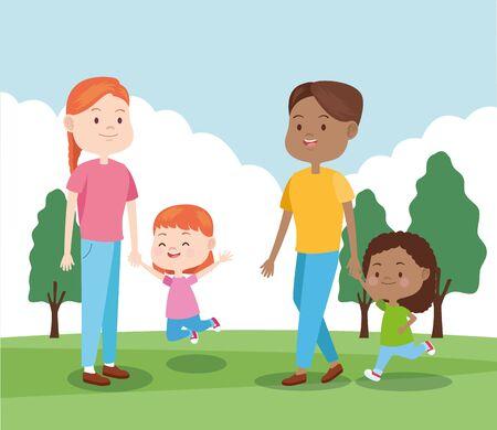 famiglia felice con le loro figlie nel parco, design colorato, illustrazione vettoriale Vettoriali
