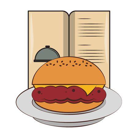 Barbecue food hamburger on dish with menu vector illustration graphic design