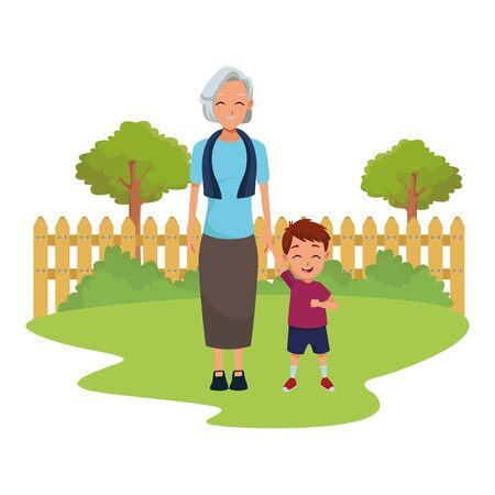 Family grandmothertaking care of grandson cartoon in nature park outdoors scenery background ,vector illustration graphic design.