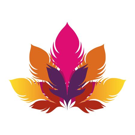 colorful feathers icon over white background, flat design. vector illustration 일러스트