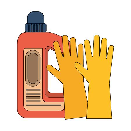 Cleaning equipment and products soap bottle with gloves vector illustration graphic design. Ilustracja