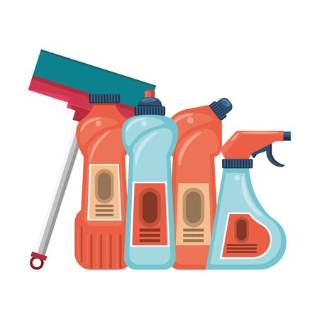 Cleaning equipment and products soaps and disifectants with mop vector illustration graphic design.