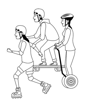 Young people riding with skateboard, electric scooter and skates wearing accesories ,vector illustration graphic design.