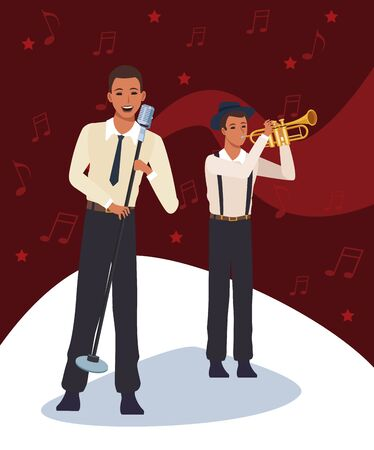 cartoon jazz singer and trumpeter over musical notes and red background, colorful design. vector illustration
