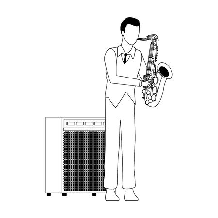 cartoon musician playing a saxophone icon over white background, flat design, vector illustration Stock Illustratie