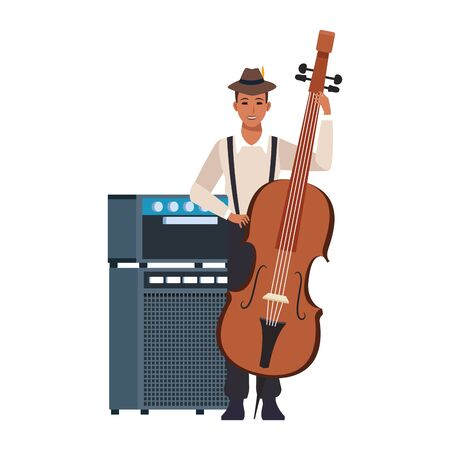 avatar musician with a cello over white background, colorful flat design. vector illustration
