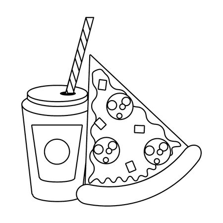 Fast food pizza and soda cup with straw vector illustration graphic design