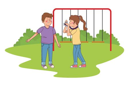 teenagers friends taking photos with camera in the park with playgrounds vector illustration graphic design. 矢量图像