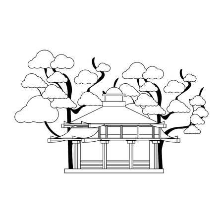 trees around a Asian temple icon over white background, vector illustration Stock fotó - 133316529