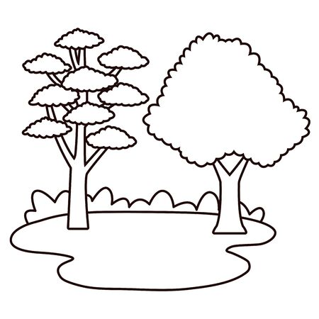 Nature trees on grass at nature cartoons in black and white vector illustration graphic design. Stock Illustratie