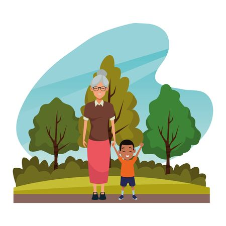 Family grandmother with little grandson cartoon in nature outdoors scenery ,vector illustration graphic design.