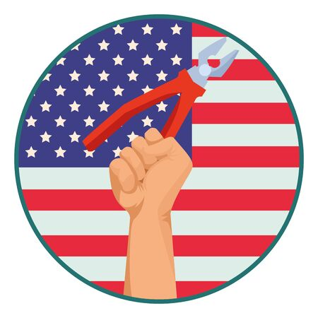 Construction worker hand holding plier tool over united states flag round emblem ,vector illustration graphic design.