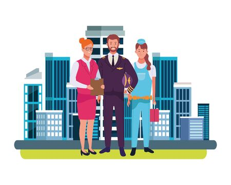 Professionals workers smiling with work tools cartoons in the city, urban scenery background ,vector illustration graphic design. Ilustracja