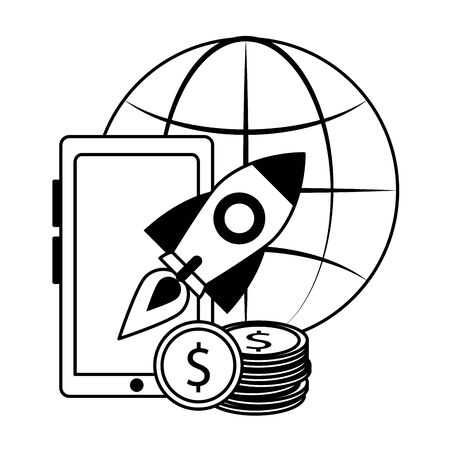 idea working success goal starting elements cartoon vector illustration graphic design in black and white