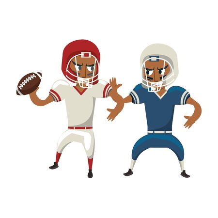 american football sport game competition, players champions men rivals playing hard in offense and defense position with ball cartoon vector illustration graphic design
