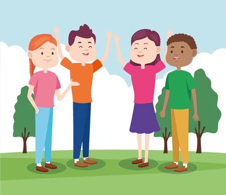 Amigos adolescentes de dibujos animados en el parque, diseño colorido, ilustración vectorial