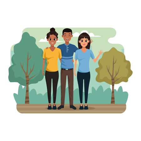 cartoon man and women in the park, colorful design. vector illustration