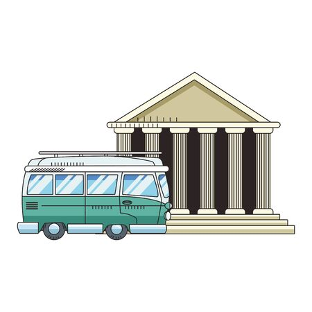 travel van and pantheon icon over white background, colorful design. vector illustration