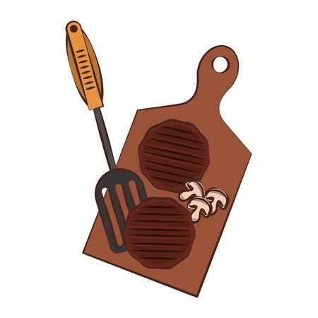Barbecue food burgers and mushroom on table with fork vector illustration graphic design