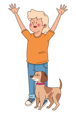 Teenager smiling and walking the dog cartoon isolated,vector illustration graphic design. Standard-Bild - 133297828