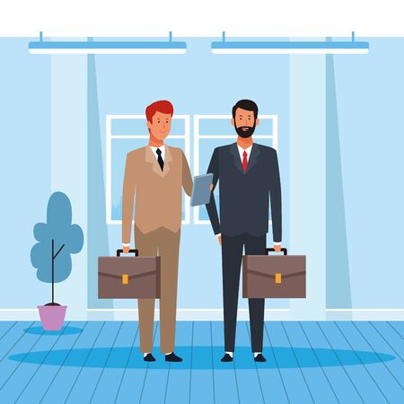 cartoon Two businessmen partners working in the office, colorful design. vector illustration Stock Illustratie