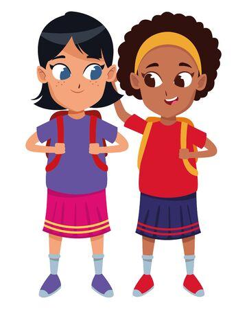 kindheit entzückende schülerinnen süße mädchen freunde tragen rucksackkarikaturvektorillustrationsgrafikdesign Vektorgrafik