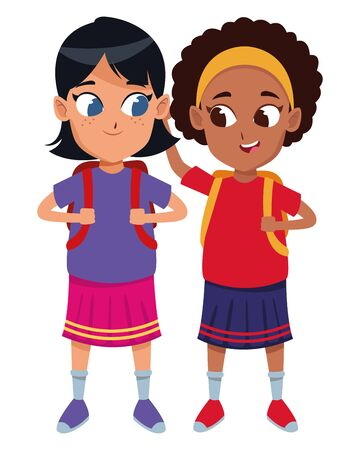 Niños adorables estudiantes de la escuela chicas lindas amigos con mochila de dibujos animados ilustración vectorial diseño gráfico Ilustración de vector