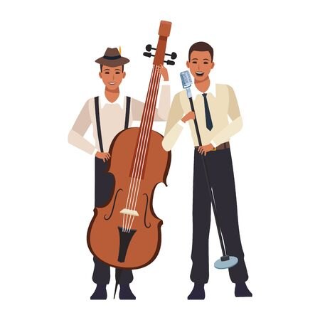 singer and musician with a cello over white background, colorful design. vector illustration