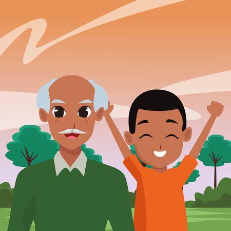 Family grandfather and grandson cartoons at nature park vector illustration graphic design Illusztráció