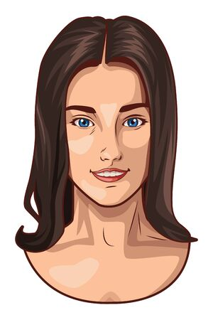 Pop art beautiful woman with black long hair face smiling ,vector illustration graphic design.