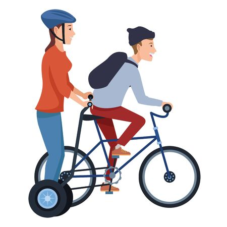 Young friends riding bike and electric scooter ,vector illustration graphic design. Stok Fotoğraf - 133298954