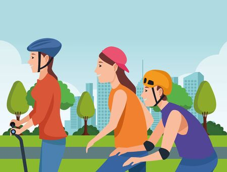 Young people riding with skateboard, electric scooter and skates wearing accesories in the city ,vector illustration graphic design. Stok Fotoğraf - 133298973