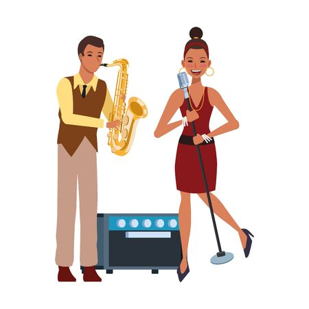 cartoon singer woman and musician with saxophonist over white background, colorful design. vector illustration 일러스트