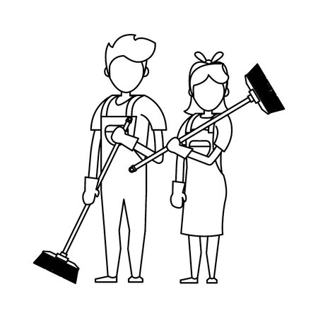 Cleaners workers smiling with cleaning brooms vector illustration graphic design.