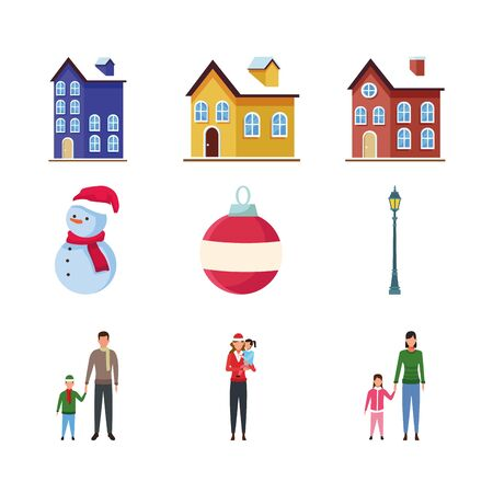 set of traditional houses, people with kids and christmas related icons over white background. colorful design, vector illustration