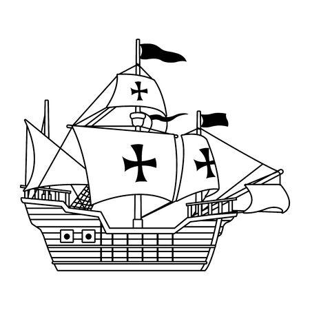 Navire caravelle antique icône de navigation vector illustration design