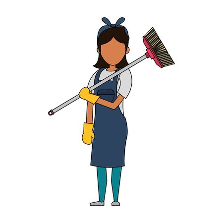 Cleaner woman worker smiling with broom vector illustration graphic design.