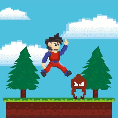 video game warrior jumping in pixelated scene vector illustration design