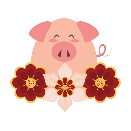 cute animal pig farm mammal pet with flowers cartoon vector illustration graphic design
