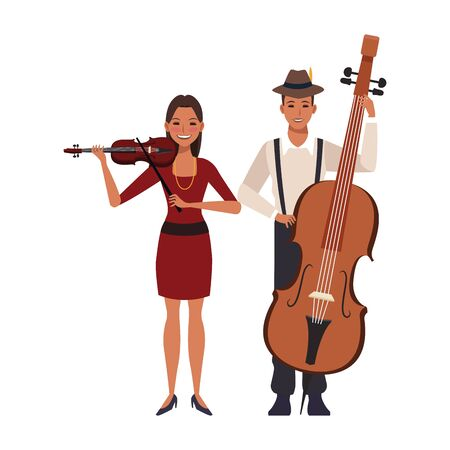 lady playing a violin and musician with a cello over white background, colorful design. vector illustration Ilustração