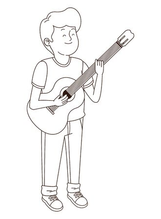 Teenager boy playing the guitar cartoon isolated,vector illustration graphic design.