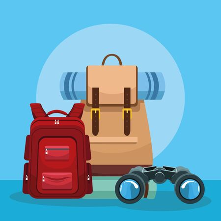 Travel adventure camping backpacks and binoculars on blue background vector illustration graphic design. Иллюстрация