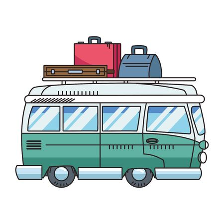 travel van with luggage icon over white background, vector illustration