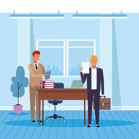 Two businessmen working in the office, colorful design. vector illustration